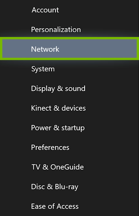 Network option highlighted in Xbox One settings.