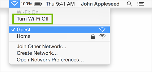 Wi-Fi menu with Turn Wi-Fi Off highlighted.