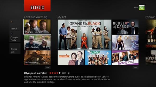 Netflix homepage for Xbox