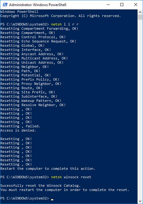 Windows 10 PowerShell network reset commands.