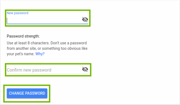 New password entry screen with 2 prompts for your new password and the change password button.