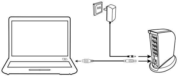 Powered USB hub being connected to outlet and other device.