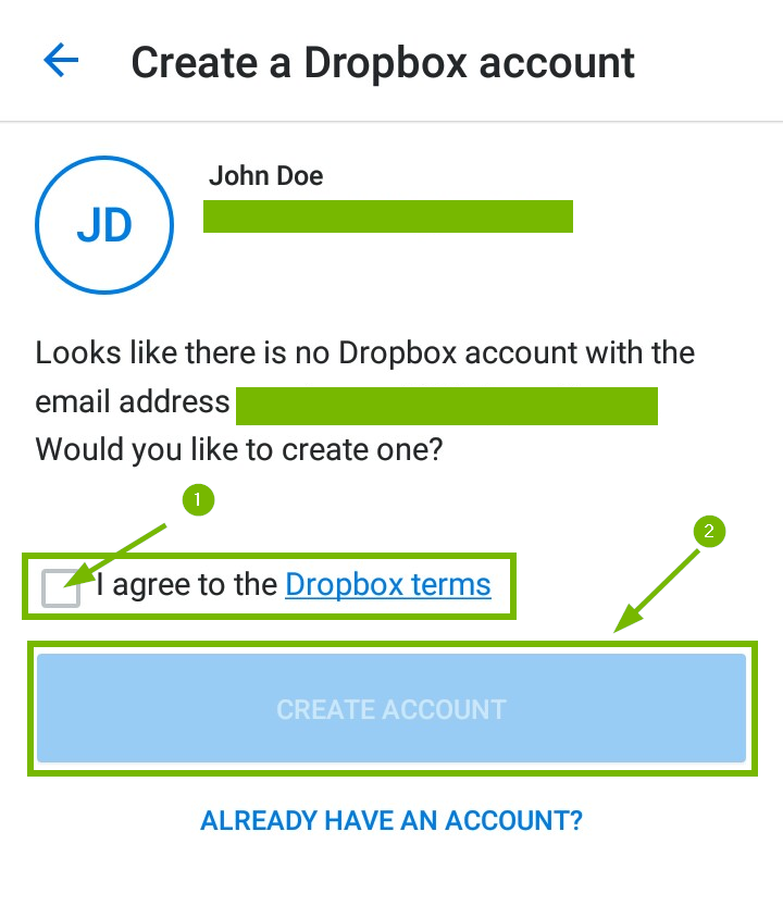 Create a dropbox account page with terms of service and create account highlighted