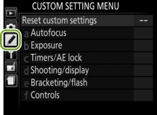 menu with custom setting highlighted