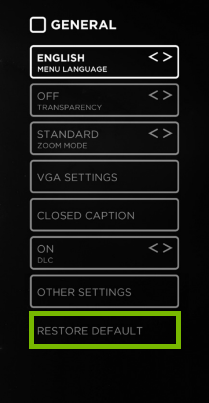 TV general settings menu