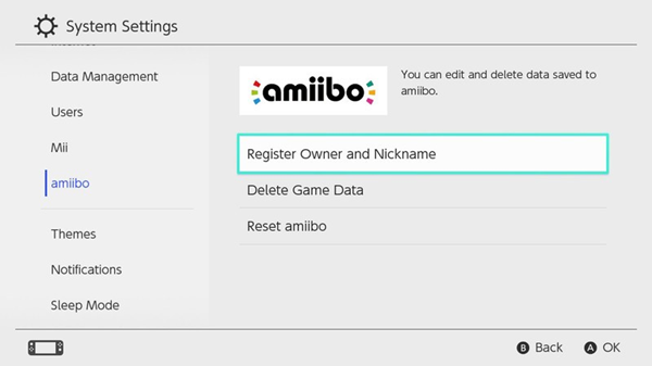 Nintendo Switch settings screen showing amiibo select and register Owner and nickname