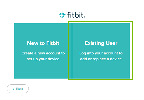 Fitbit Connect with Existing user highlighted.
