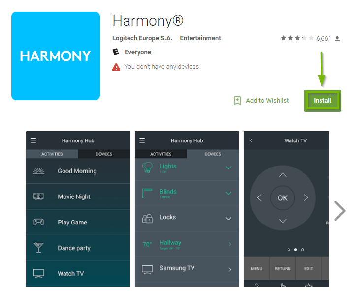 Google Play store displaying the Harmony app landing page with the install button highlighted.