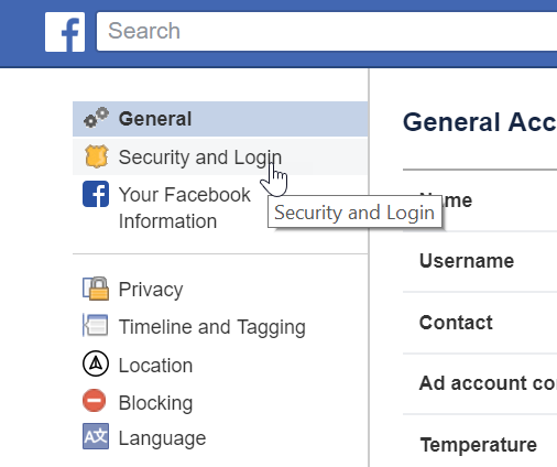 Facebook Security and Login menu