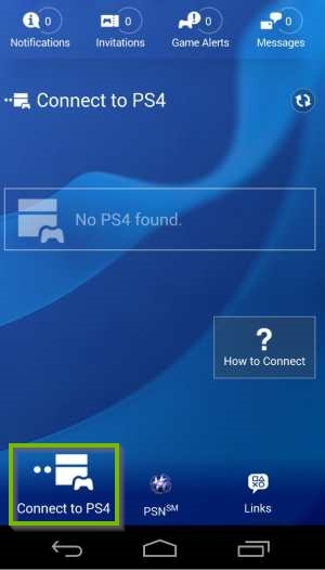 PlayStation App with Connect to PS4 selected. Screenshot.