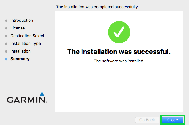 Summary of installation with the close button highlighted