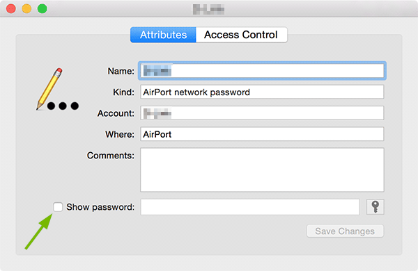 Show password box pointed out on Keychain Access entry pop-up.