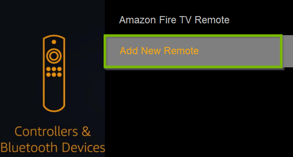 Controllers and Bluetooth Devices menu with Add New Remote selected. Screenshot.