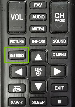 TV remote with settings highlighted