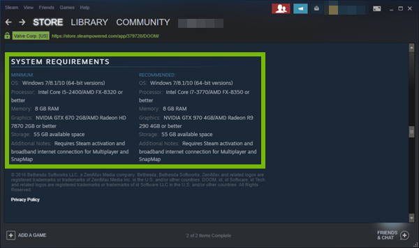 Steam displaying system requirements of Doom.