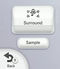 Nintendo Wii U TV settings menu highlighting the surround button.