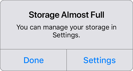 Storage Almost Full prompt showing on iOS.