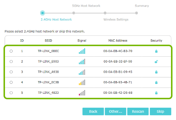Wi-Fi network list highlighted in range extender quick setup.