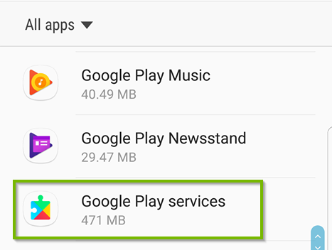 Apps list with Google Play services selected. Screenshot.