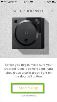August home app highlighting the start setup button