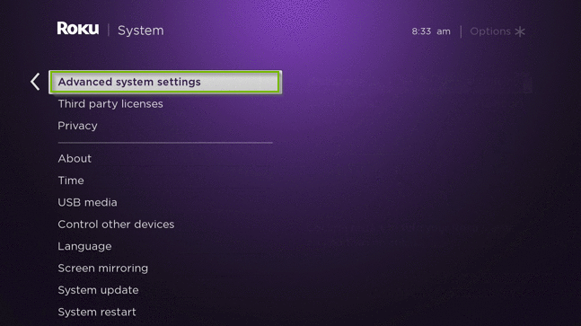 Roku TV menu with the advanced system settings option highlighted.