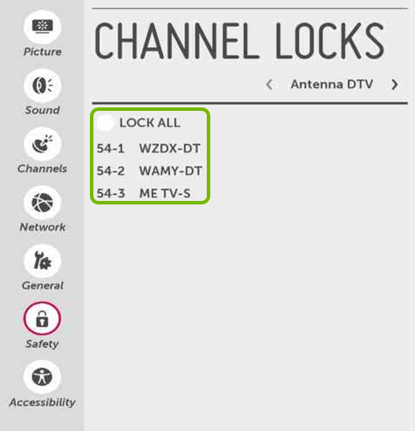 TV Channels highlighted in Safety settings of LG Smart TV.