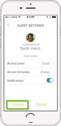 August home app guest settings showing update button
