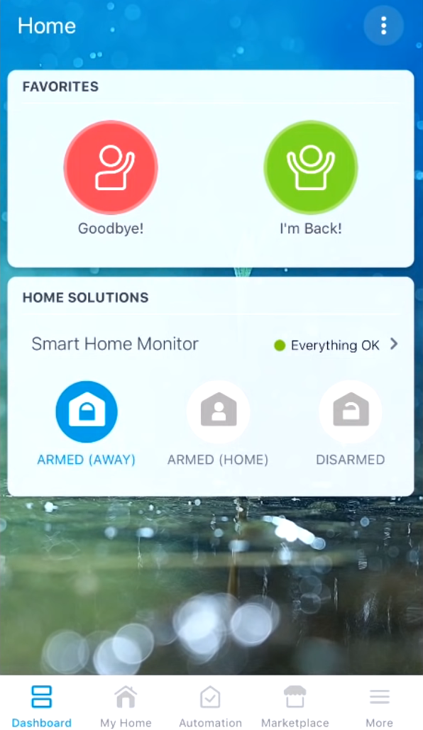 Favorite routines added to the Dashboard of the SmartThings app.