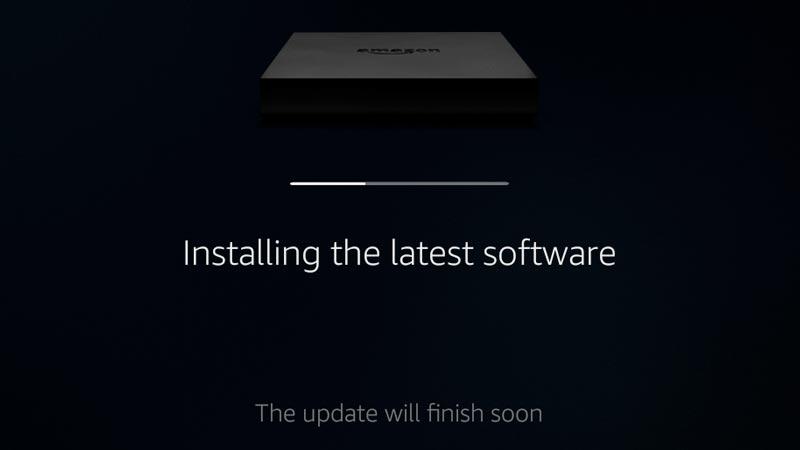 Fire TV installing the latest software update with progress bar. Screenshot.