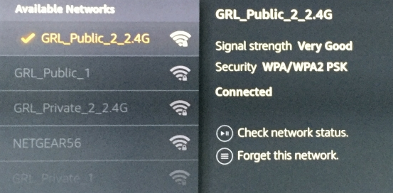 Wi-Fi network list with example selected with checkmark. Screenshot.