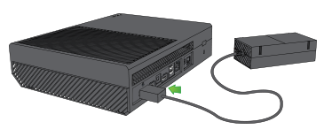 Power cable being plugged into Xbox One.