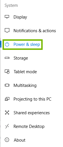 system menu with power and sleep highlighted