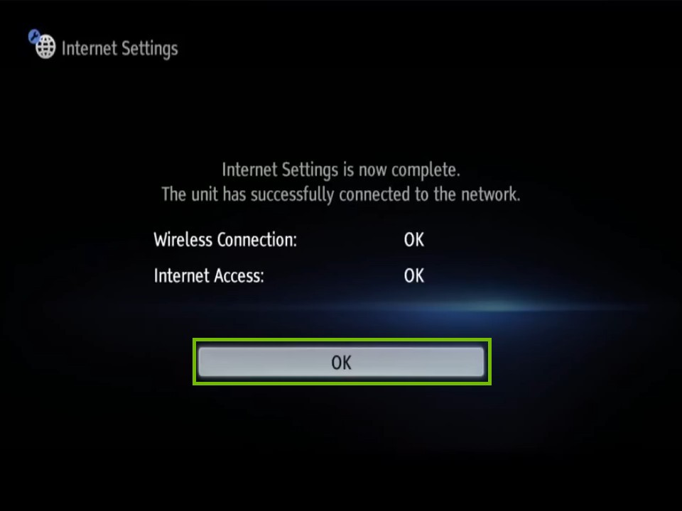 connected scren with ok highlighted