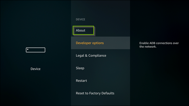 Device menu with About option selected. Screenshot.