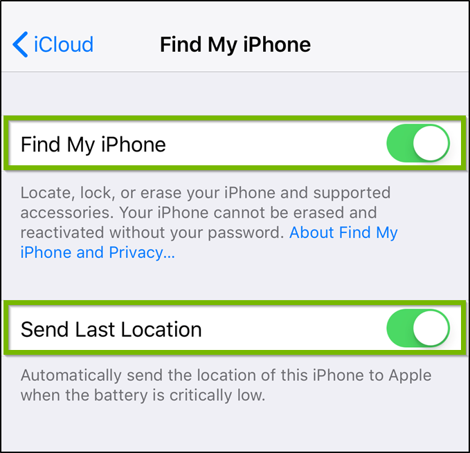 Find my iPhone settings highlighting both toggle switches.