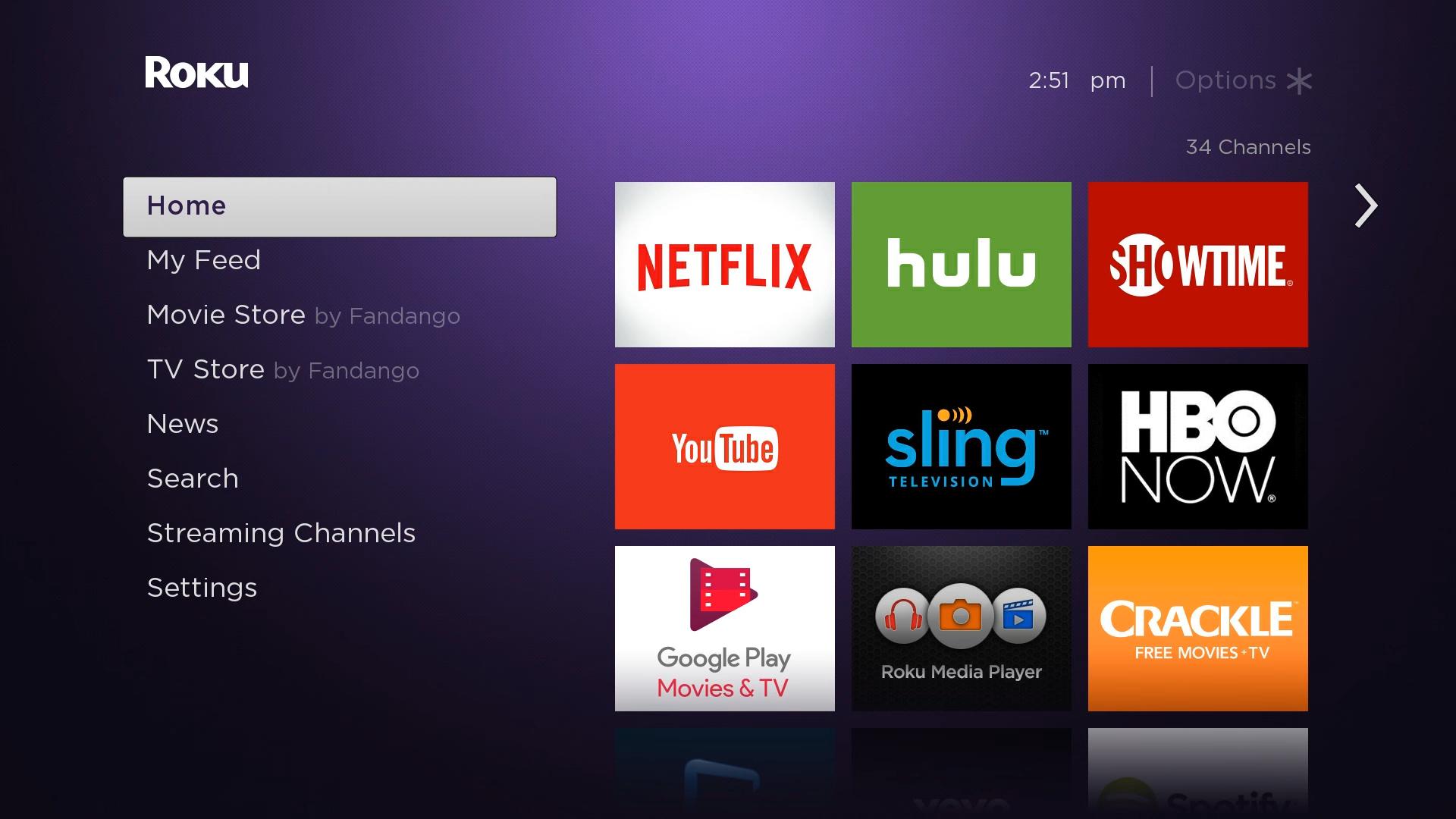 Roku TV home screen.