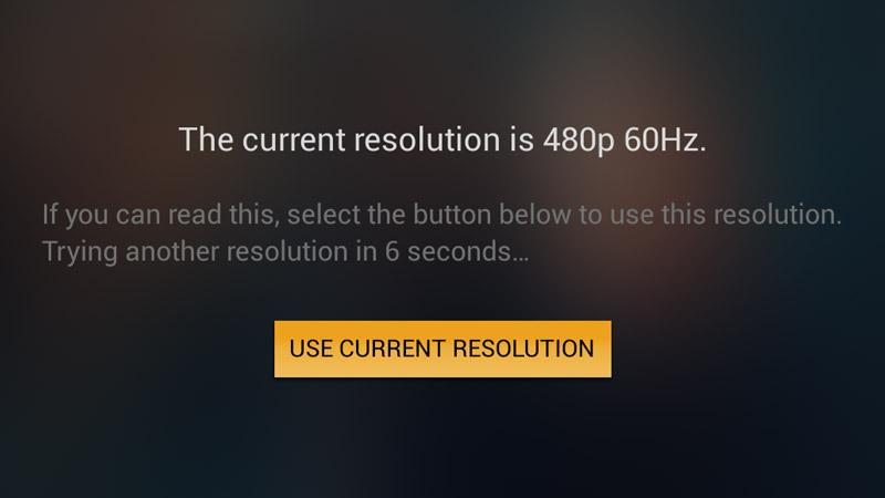 Resolution change screen.