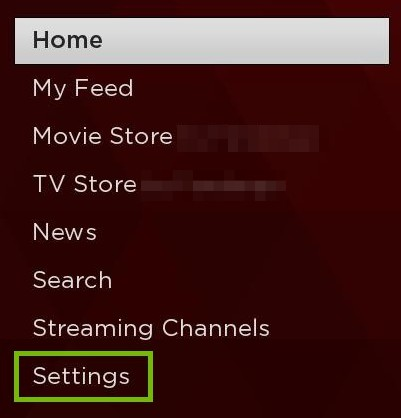 Home Menu with Settings highlighted.