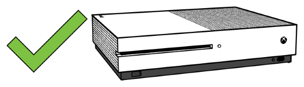 Correct horizontal position for Xbox One S or X.