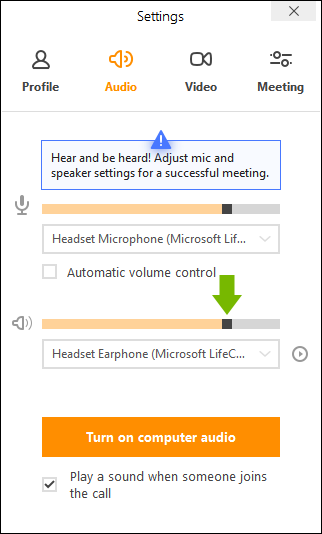 Speakers' volume control slider pointed out in join.me app settings.