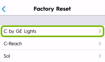 C by GE Lights option highlighted in C by GE app settings.