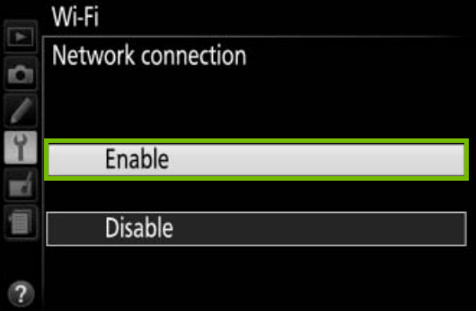 Wi-Fi screen with enable highlighted.