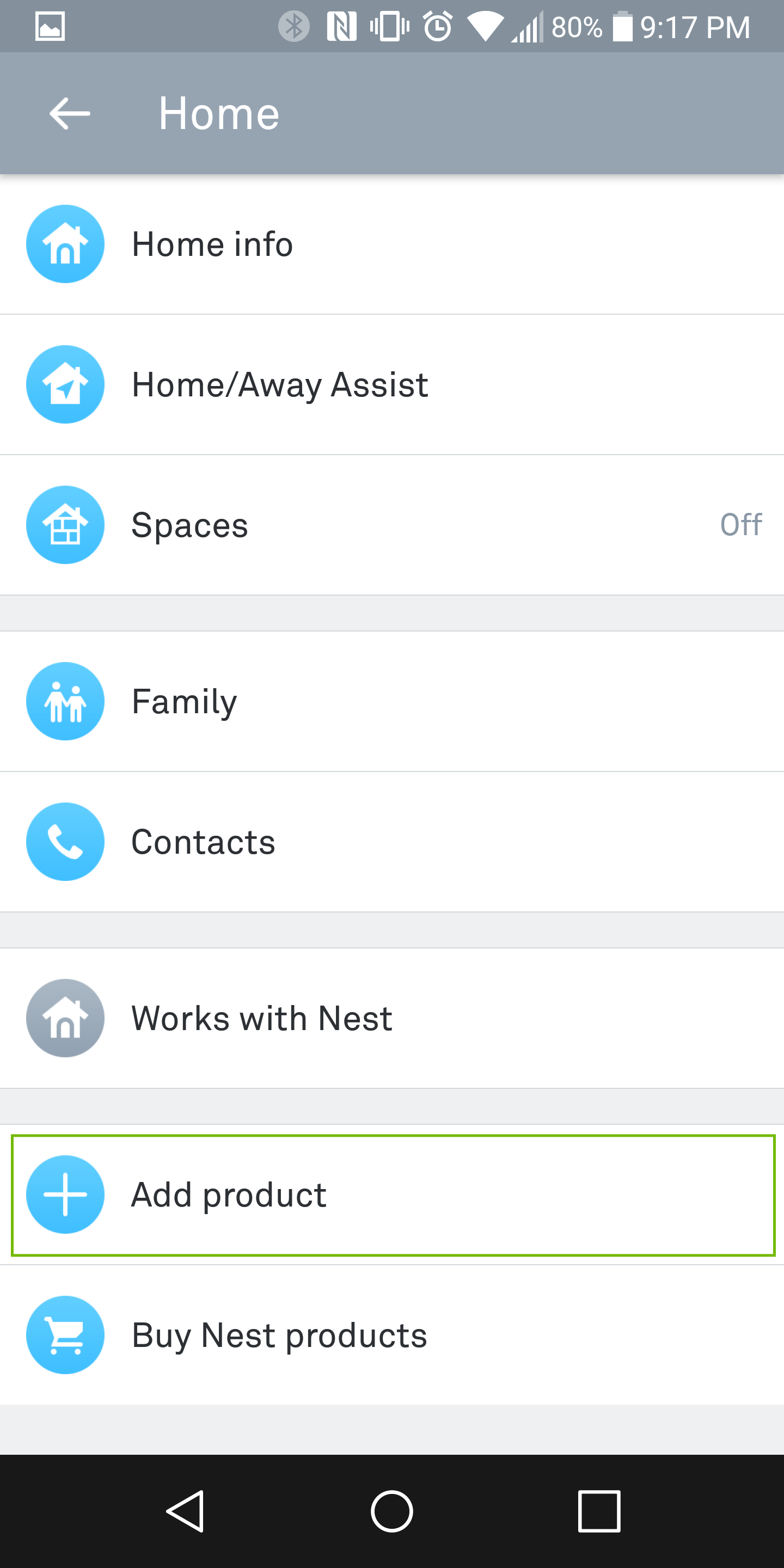 settings with add product highlighted