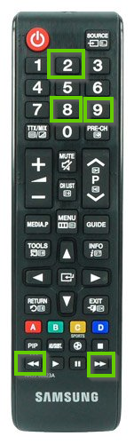 Samsung remote showing the fast forward, rewind, 2, 8, and 9 buttons highlighted.