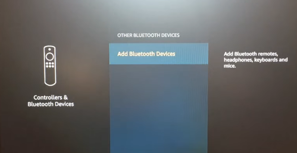 Other Bluetooth Devices menu with Add Bluetooth Devices selected. Screenshot.