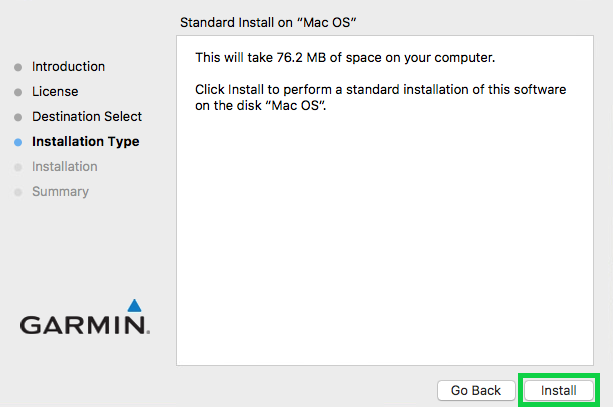 instalation type with the install button highlighted