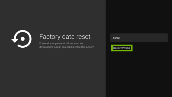 Factory data reset prompt with Erase everything highlighted.