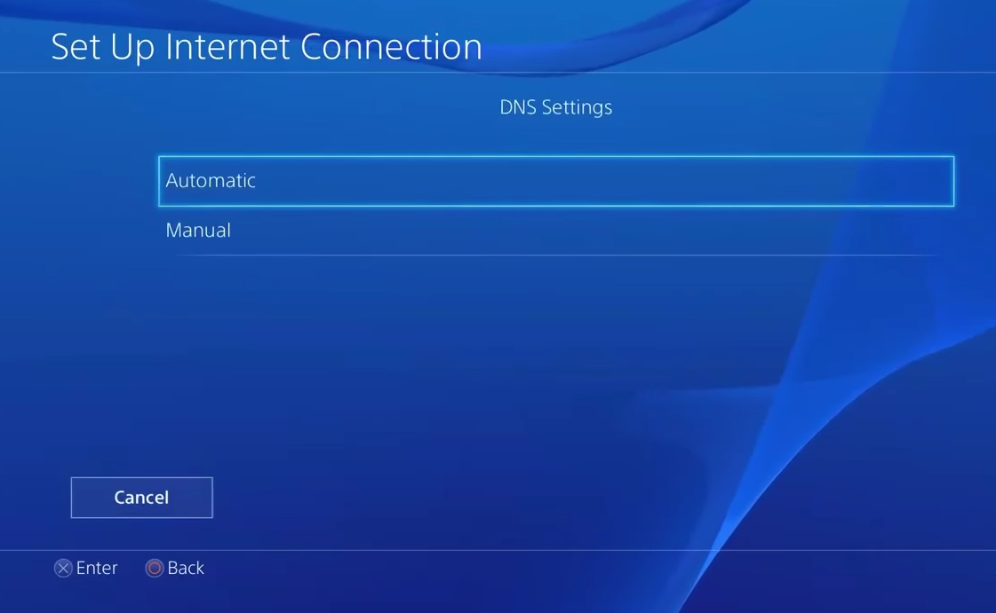PS4 selecting automatic under dns settings