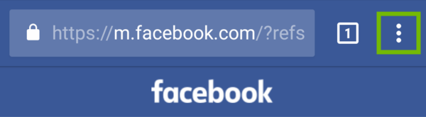 Browser on Facebook page with menu highlighted.