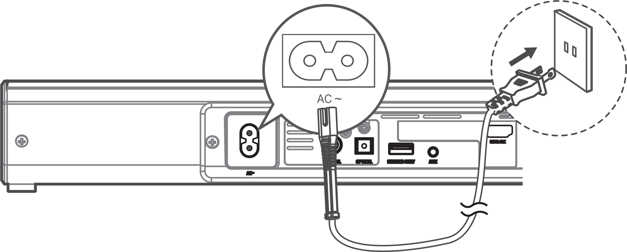 Diagram of connecting power cable to soundbar